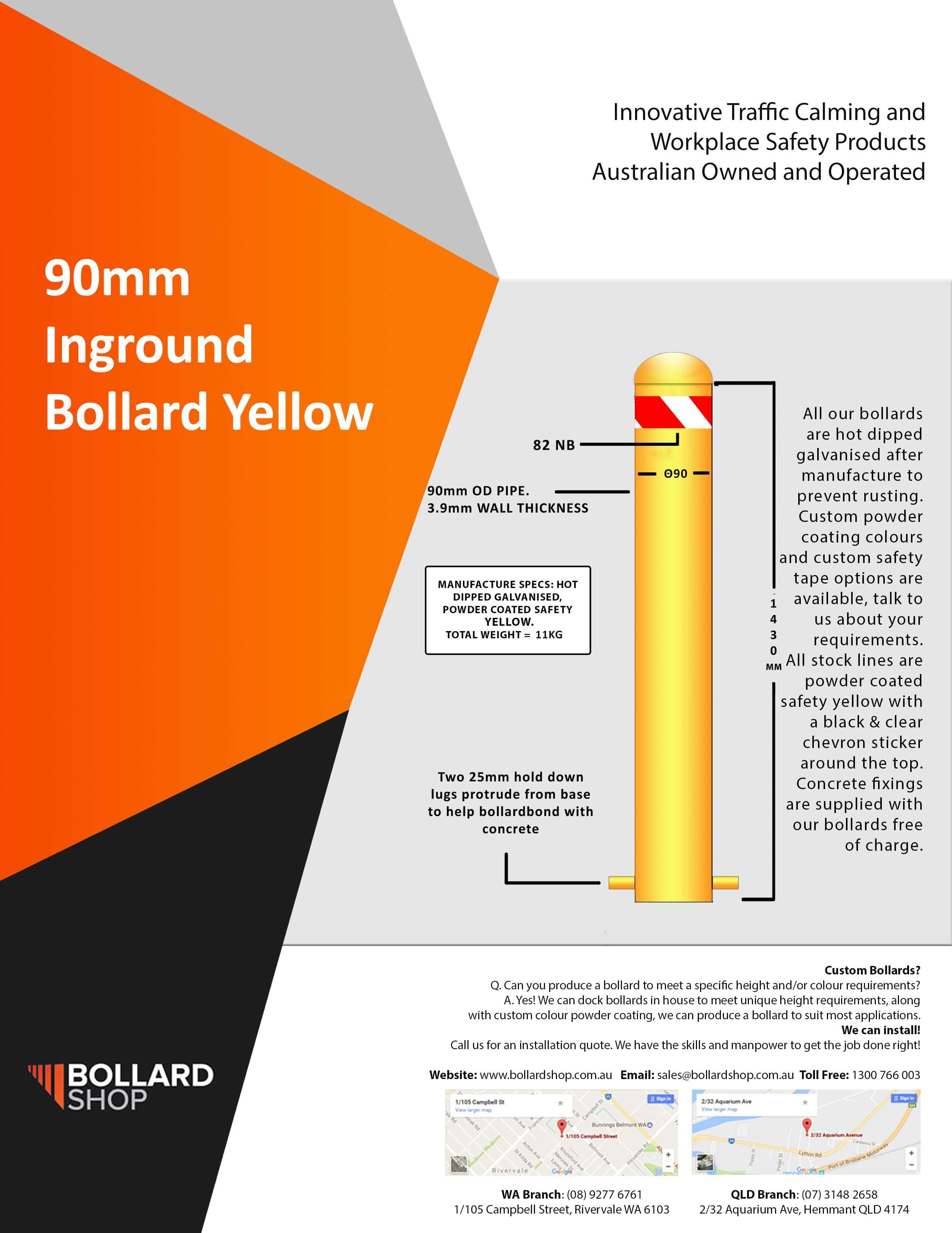 90mm X 1500mm long Inground Bollards